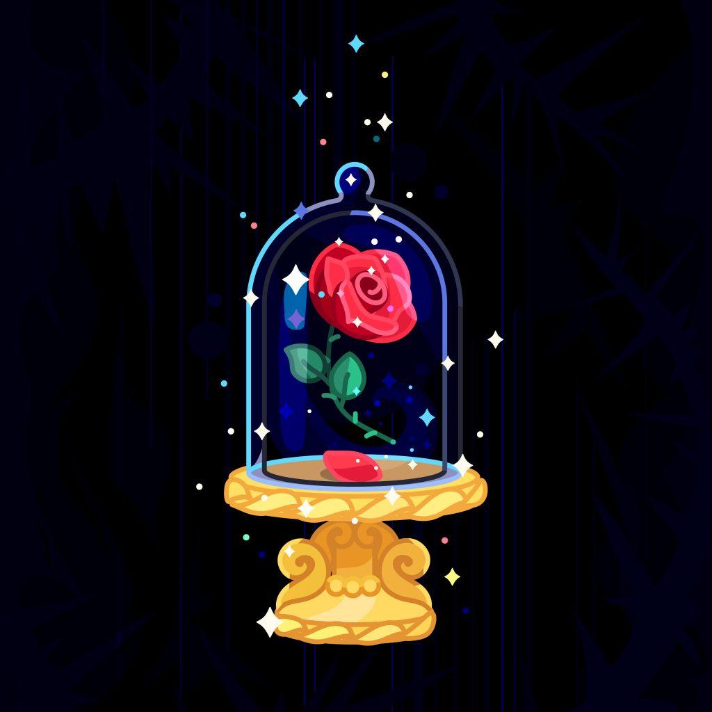 バラ_魔法_ガラスケース